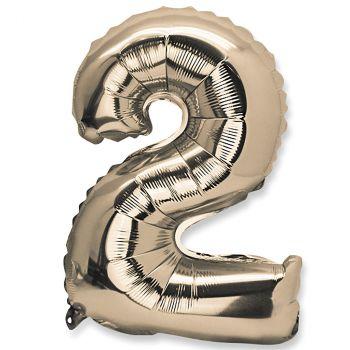 Ballon aluminium chiffre 2 or 36cm