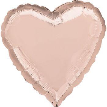 Ballon aluminium cœur  rose gold 43cm