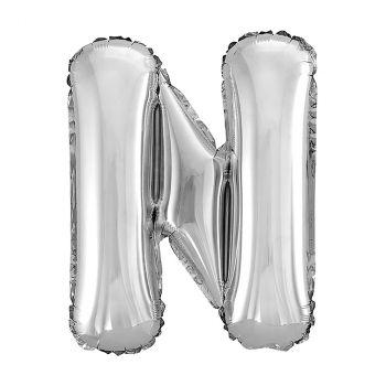 Ballon aluminium lettre N argent 26cm