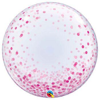 Ballon Bubble imprimé confettis rose 24 pouces