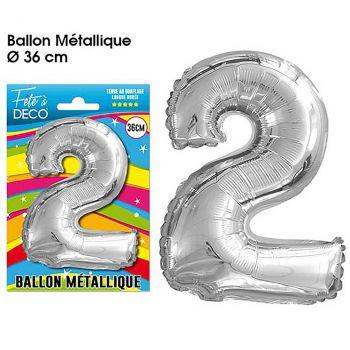 Ballon géant aluminium chiffre 2 argent 36cm