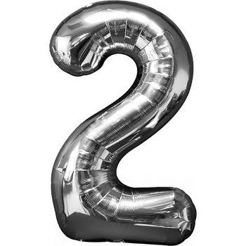 Ballon géant aluminium chiffre 2 argent 88cm