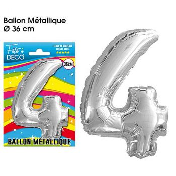 Ballon géant aluminium chiffre 4 argent 36cm