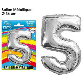 Ballon géant aluminium chiffre 5 argent 36cm