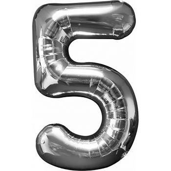 Ballon géant aluminium chiffre 5 argent 86cm