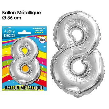 Ballon géant aluminium chiffre 8 argent 36cm