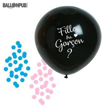 "Ballon géant ""Fille ou Garçon ?"" avec confettis latex"