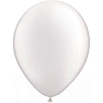 Ballon latex blanc métallisé 28cm