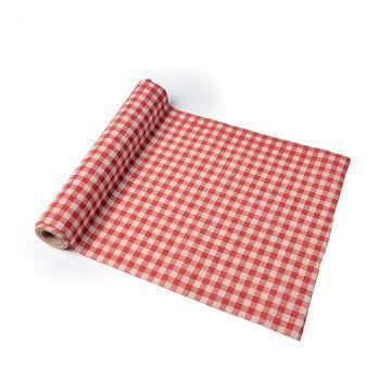 Chemin de table coton vichy rouge 30cmx5m