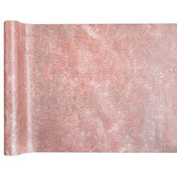 Chemin de table fanon métallisé rose 30cmx5m