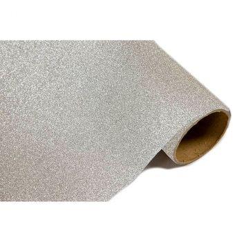 Chemin de table métal pailleté argent 28cmx5m