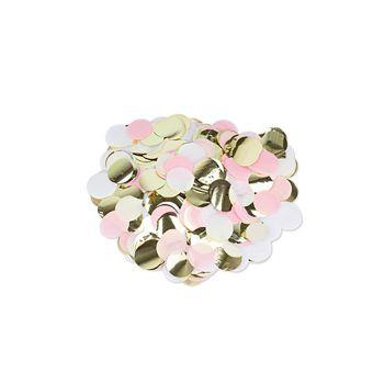 Confettis ronds rose/blanc/or 3cm 36gr