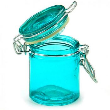 Confiturier en verre bleu turquoise