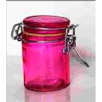Confiturier en verre fuchsia 7cm