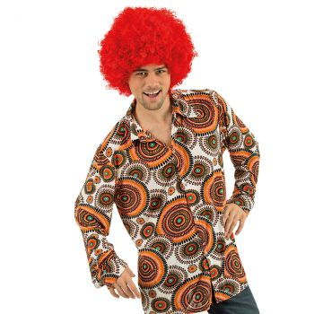 Costume homme chemise rétro cercle orange T XL