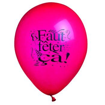 """Lot de 10 ballons latex """"Faut fêter ça!"""" 28cm"""