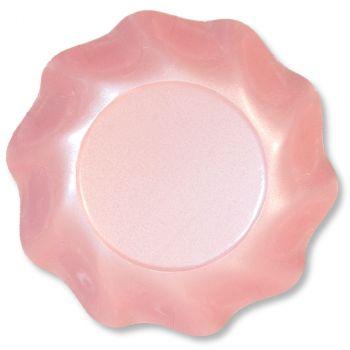 Lot de 10 coupelles rondes  rose  perlé 18cm