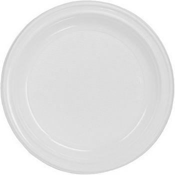 Lot de 100 assiettes réutilisables blanc 20,5cm