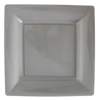 Lot de 12 assiettes carrées gris 23,5cm