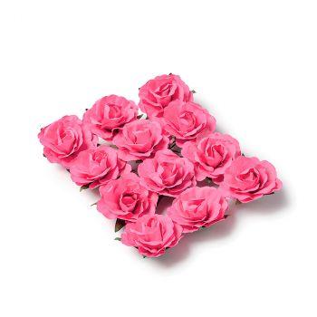 Lot de 12 roses à piquer fuchsia 3,5cm