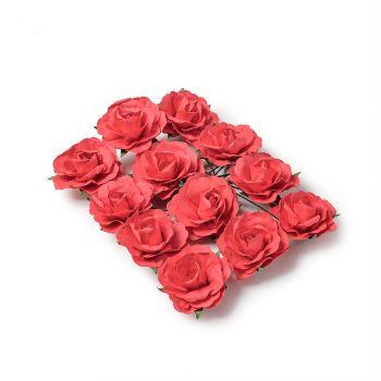 Lot de 12 roses à piquer rouge 3,5cm