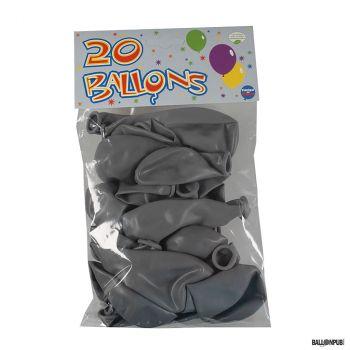 Lot de 20 ballons gris latex 25cm