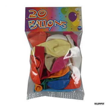 Lot de 20 ballons multicolore latex 25cm