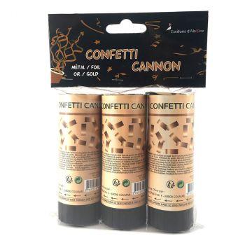 Lot de 3 mini canon à confettis or 12cm