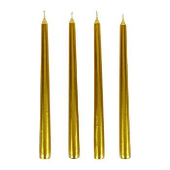 Lot de 4 flambeaux dorée 25cm