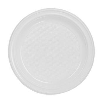 Lot de 50 assiettes réutilisables blanc 17cm