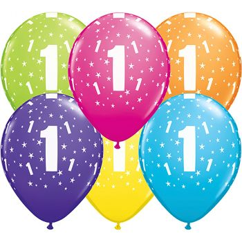 Lot de 6 ballons latex 1 ans multicolore 28cm