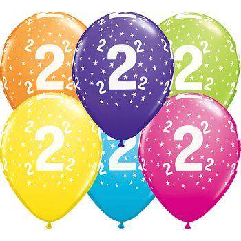 Lot de 6 ballons latex 2 ans multicolore 28cm