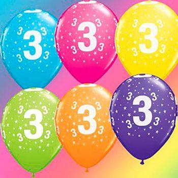 Lot de 6 ballons latex 3 ans multicolore 28cm