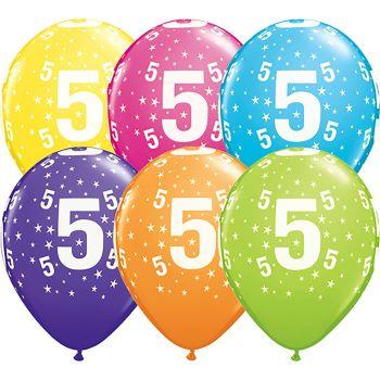 Lot de 6 ballons latex 5 ans multicolore 28cm