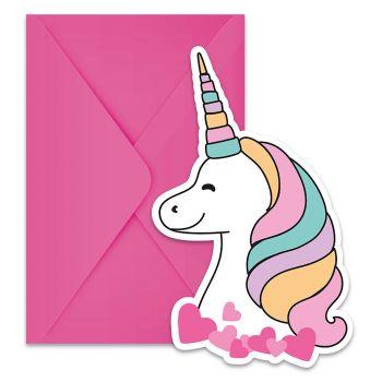 Lot de 6 invitations avec enveloppes licorne