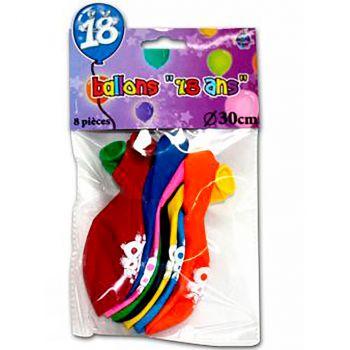 Lot de 8 ballons 18 ans latex multicolore