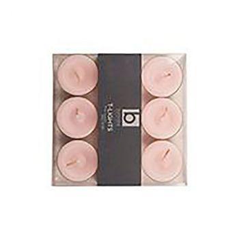 Lot de 9 bougies chauffe-plat rose