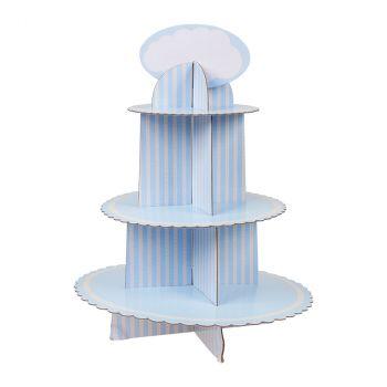 Support pour cakes 3 étages baby bleu