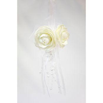 Suspension boule de roses avec perles blanc