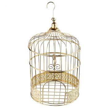 Tirelire cage métal or 31cm