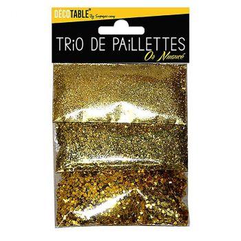 Trio de paillettes or