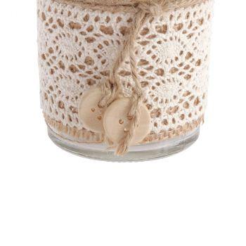 Vase en verre bohème jute et dentelle 13,5cm
