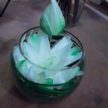 Vase en verre lotus 21cm
