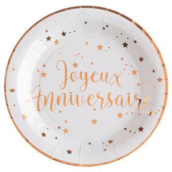 Assiettes anniversaire 22.5cm x10 blanc/rose gold