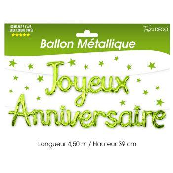 Ballon alu joyeux anniversaire vert