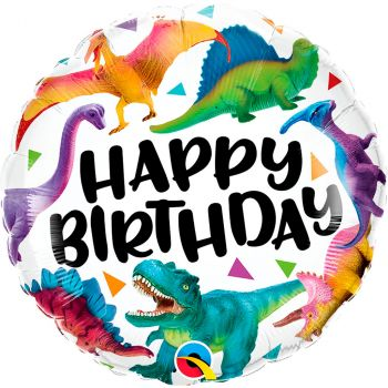 Ballon aluminium 18 pouces birthday dinosaure