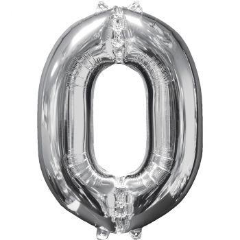 Ballon aluminium chiffre 0 argent 66cm
