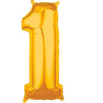 Ballon aluminium chiffre 1 or 66cm