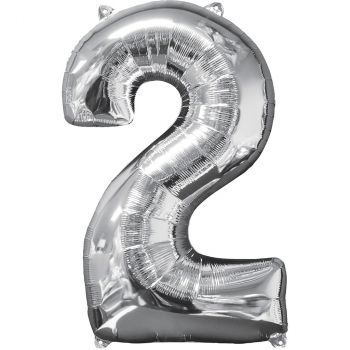 Ballon aluminium chiffre 2 argent 66cm