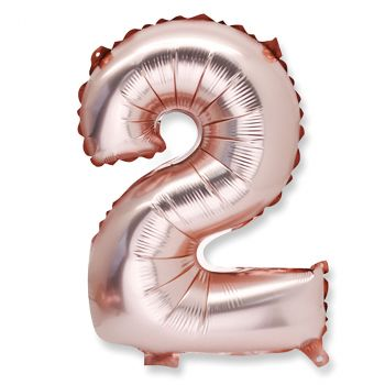 Ballon aluminium chiffre 2 rose gold 36cm